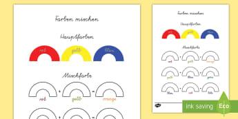 Farben mischen Aktivität - Farben mischen Aktivität, Farben mischen, Farben mixen, Farben mischen Arbeitsblatt,German