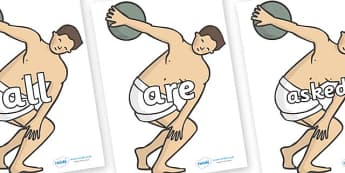 Tricky Words on Ancient Discus - Tricky words, DfES Letters and Sounds, Letters and sounds, display, words