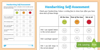Writing Self Assessment Activity Sheet - Writing Self-Assessment,Irish
