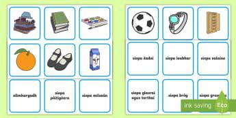 Ag Siopadóireacht Matching Cards - Gaeilge, siopadóireacht, Irish, siopa, shopping, shops, Irish