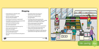 Shopping Oral Language  Activity Sheet-Irish, worksheet