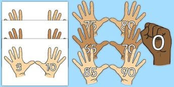 Counting in 5s (on Hands) - Counting, Numberline, Number line, Counting on, Counting back, even numbers, foundation stage numeracy, counting in 5s, numeracy, numbers, counting, counting to 5