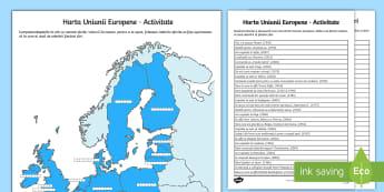 Harta Uniunii Europene Activitate - hartă, uniunea europeană, română, geografie, țări, europa, harta europei, materiale, fișe, ț