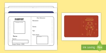 Space Passport Writing Template - role play, writing templates, space, passports, galactic