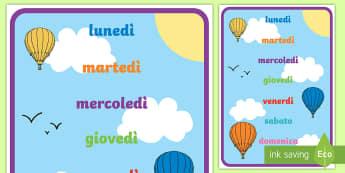 I Giorni della Settimana Poster - giorni, della, settimana, poster, giorni, settimanale, decorazione, italiano, italian, materiale, sc