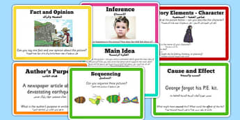Guided Reading Skills Task Cards Arabic Translation - arabic, guided reading, skills, task, cards