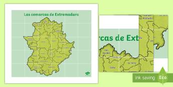 Tapiz de Bee Bot: Las comarcas de Extremadura  - Mapas, provinicias, mapas mudos, mapas en blanco, las ciudades de españa, comarcas, concejos, comun
