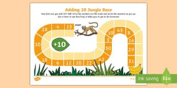 Adding 10 Jungle Race Activity Sheet - add, ten, 10, addition, plus, calculate, adding, place value