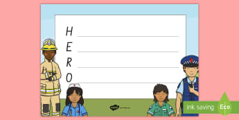 Hero Acrostic Poem  - People Who Help Us, heroes, hero, poem, acrostic, New Zealand, poem, poetry,