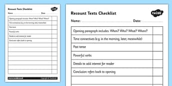 Recount Texts Checklist - recount, writing a recount, recount checklist, recount writing checklist, text features checklist, types of text, ks2 literacy