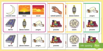 Ramadan and Eid Matching Cards and Boards Game - EYFS, Early Years, KS1, religion, faith, belief, Eid, Ramadan, Muslim, Islam, festival.