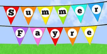 Summer Fayre Bunting - summer, fair, summer fayre, fayre, summer fair, summer fete, fete, bunting, display bunting