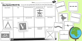 Map Symbol Matching Activity - map reading, geography, symbols