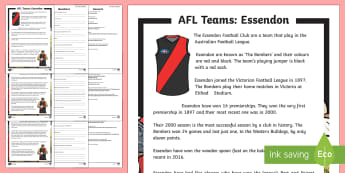 AFL Teams Essendon Bombers Differentiated Reading Comprehension Activity - AFL, essendon, bombers, afl fact files,Australia, reading, comprehension, information text, non fict