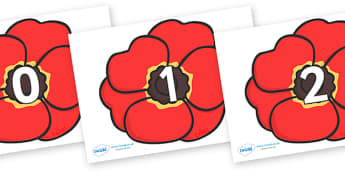 Numbers 0-31 on Poppies - 0-31, foundation stage numeracy, Number recognition, Number flashcards, counting, number frieze, Display numbers, number posters