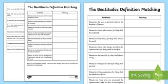 The Beatitudes Definitions Activity Sheet - CfE Catholic Christianity, prayers, mass responses ,Scottish, worksheet