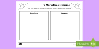 Outdoor Learning Muddy Marvellous Medicine Recipe Activity Sheet - CfE Outdoor Learning, nature, forest, woodland, playground, george's marvellous medicine, medicine,