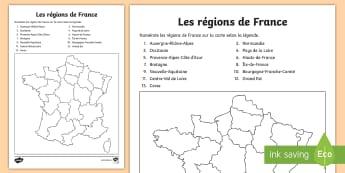 Feuille d'activités : Les régions de France - Cartes géographiques, map,cycle 2, cycle 3,  KS2, régions, France, regions, activity sheet, feuill