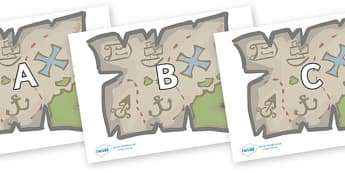 A-Z Alphabet on Treasure Maps - A-Z, A4, display, Alphabet frieze, Display letters, Letter posters, A-Z letters, Alphabet flashcards