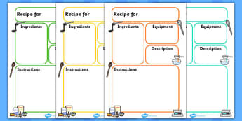 Recipe Template - education, home school, free, child development