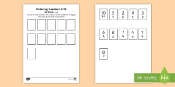 Ordering Numbers 0 to 10 Counting Activity Sheet - English / Hindi - ordering numbers, 1 -10, 0-10, less than 10, practise, number, number sequence, maths, counting, EAL