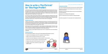How to write a Pen Portrait One Page Profile Guidance Sheet - pen portrait, one page, profile, guidance
