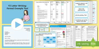 Y2 Letter Writing: Formal Example Text - Example Texts Y2, formal letter, letter writing, exemplification, WAGOLL, letter, year 2, moderating