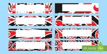 NZ Kowhaiwhai Patterns Editable Drawer, Peg, Name Labels