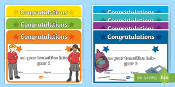 Transition Award Certificates - reward, new class, end of year, new teacher, next year,