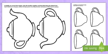 Mother's Day Teapot Craft Cards English/Greek - Mother's Day Card Blank Teapot Card Craft - mothers day, card, blank, teapot, EAL, Greek, greek