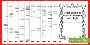 Competencia matemática en la vida real: Organización de la fiesta navideña - Competencia matemática, fiesta, organización, porcentajes, fracciones, eventos,evento, fiestas, Na