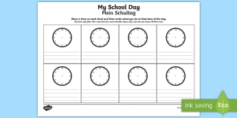My School Day Activity Sheet English/German - timetable, daily routine, transition, rountines, Timw, trasition, bump up day, tranistion, tranition