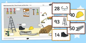 Year 1 Maths Assessment Number and Place Value Term 2 - progress, maths, numeracy, ks1, key stage 1, marking, test, objectives, curriculum, national, spring, counting, order, tens, ones, units, hundreds