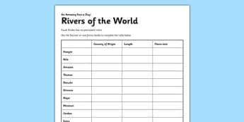 Rivers of the World Activity Sheet - rivers, reading comprehension, worksheet