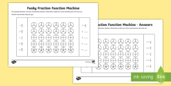 Funky Fraction Function Machine Activity Sheet - NI KS2 Maths Resources, KS1 Resources, improper fractions, mixed fractions, fractions, draw fraction