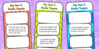 2014 Curriculum Year 6 Maths Target Bookmarks - numeracy, ks2