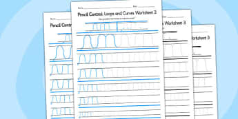 Pencil Control Loops And Curves Worksheet 3 - pencil control