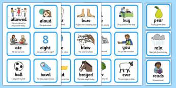 Homophones Matching Cards - homophones, homophone matching cards, homophone activities, homophone cards, homophone examples, homophones game, ks2 literacy, homphones