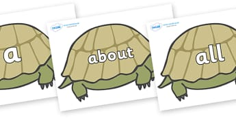 100 High Frequency Words on Tortoises - High frequency words, hfw, DfES Letters and Sounds, Letters and Sounds, display words