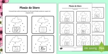 Colorează cuvintele de primăvară Ploaie de litere - Spring, primavara, nori, picături, ploaie, litere, joc, colorează, colorat, albină, animale, fiș
