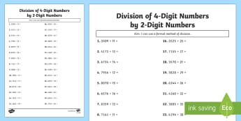 Division of 4-Digit Numbers by 2-Digit Numbers Activity Sheet - maths, mathematics, numeracy, activity sheet, division, sharing, partitioning, number, place value,