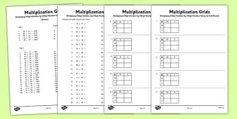 Multiplying 2 Digit Numbers by 2 Digit Numbers Using Grid Method Activity Sheet Pack - Multiplication, grid method, worksheet