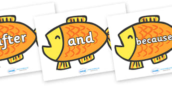 Connectives on Goldfish to Support Teaching on Brown Bear, Brown Bear - Connectives, VCOP, connective resources, connectives display words, connective displays