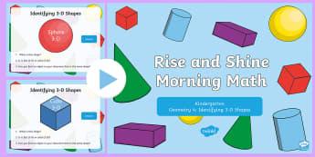 Rise and Shine Kindergarten Morning Math Geometry 4 PowerPoint - Kindergarten Math, Geometry, Morning Work, Identifying 3-D Shapes