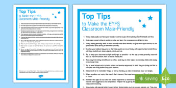 A Male-Friendly EYFS Classroom Adult Guidance - Top tips,Teaching, Boys; EYFS; Learning, Inset, Training