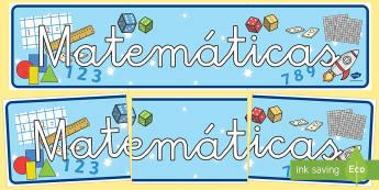 Pancarta: Matemáticas - pancarta, matemáticas, mates, mural, cartel, exposición, exponer, decoración, decorar,Spanish