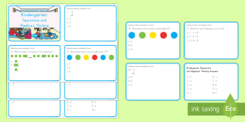 Kindergarten Operations and Algebraic Digital Assessment Practice Activity - operations and algebraic thinking, maths quiz, test, addition, subtraction, more, less, sequence, sh