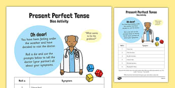 Present Perfect Tense Dice Activity - present, perfect, tense, dice, activity