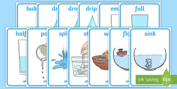 Water Area Display Words - Water area, water play, water, water display, splash, drop, drip, wet, float, sink