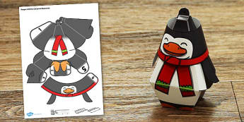Penguin Gift Box Christmas Decoration - penguin, gift box, christmas, decoration, craft, paper